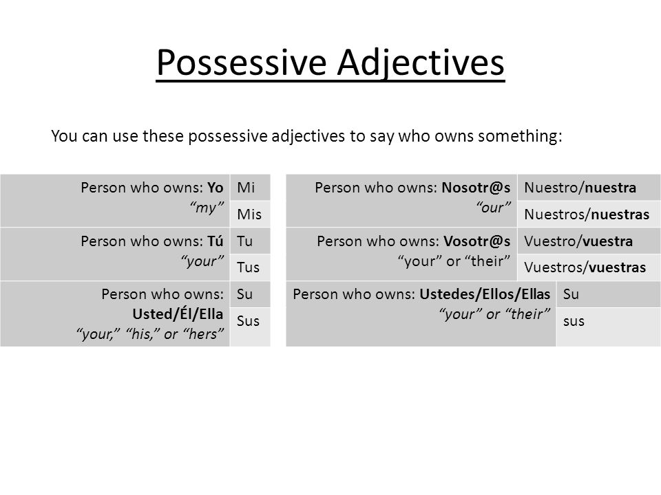 Using Possessive Adjectives There are also other ways to show possession in Spanish: – Juan escribe novelas.