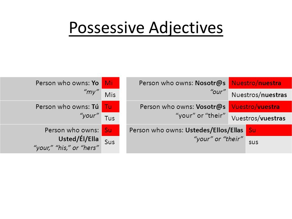 You can use these possessive adjectives to say who owns something: Possessive Adjectives Person who owns: Yo my MiPerson who owns: Nosotr@s our Nuestro/nuestra MisNuestros/nuestras Person who owns: Tú your TuPerson who owns: Vosotr@s your or their Vuestro/vuestra TusVuestros/vuestras Person who owns: Usted/Él/Ella your, his, or hers SuPerson who owns: Ustedes/Ellos/Ellas your or their Su Sussus
