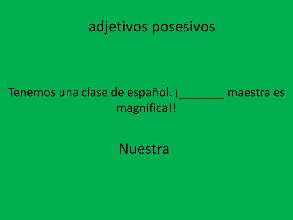 Tenemos una clase de español. ¡_______ maestra es magnífica!! Nuestra adjetivos posesivos