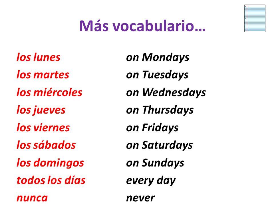 Vocabulario 3.2 To ask how often: ¿Te gusta salir con amigos? Do you like to go out with friends? To respond: Sí después de clases, casi siempre vamos