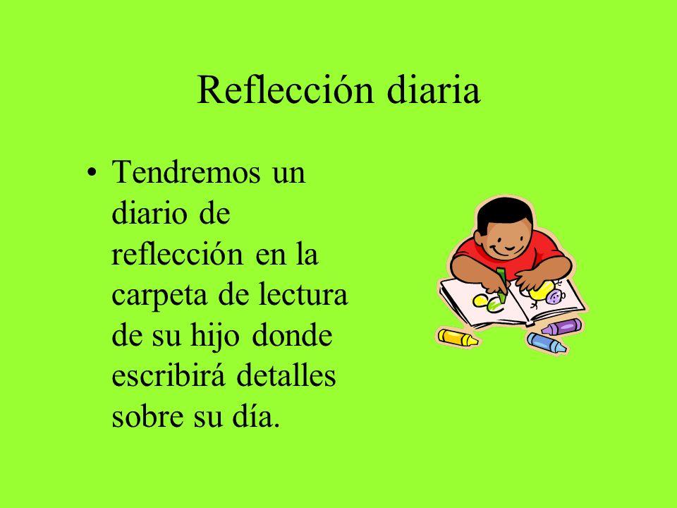 Reflección diaria Tendremos un diario de reflección en la carpeta de lectura de su hijo donde escribirá detalles sobre su día.