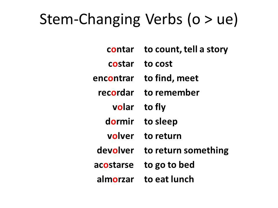 Stem-ChangingVerbs (o > ue) Stem-Changing Verbs (o > ue) contar costar encontrar recordar volar dormir volver devolver acostarse almorzar to count, te
