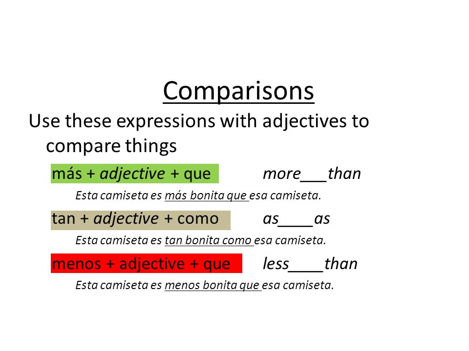 Haz una lista Create a list of adjectives on your paper that you might use to make comparisons: bonito, feo, guapo, shalala, shalala.