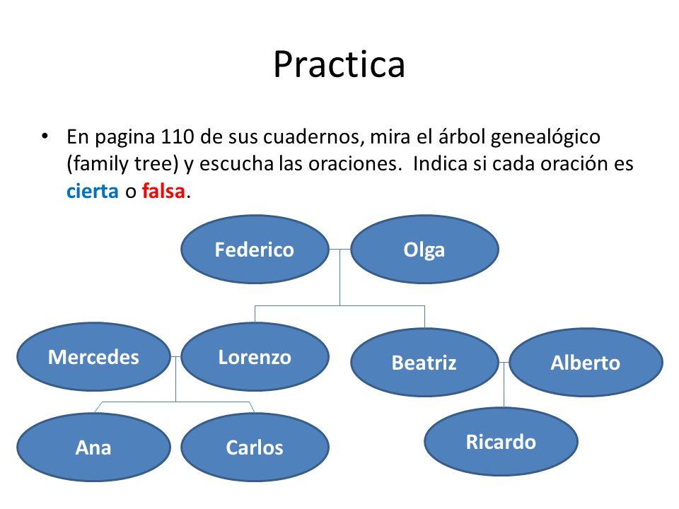 Practica En pagina 110 de sus cuadernos, mira el árbol genealógico (family tree) y escucha las oraciones. Indica si cada oración es cierta o falsa. Fe