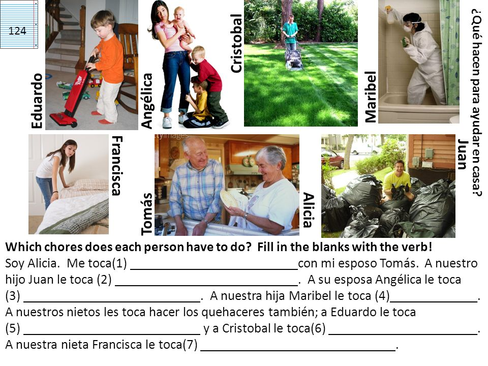 Tomás Alicia Francisca Maribel EduardoJuanAngélica ¿Qué hacen para ayudar en casa? Which chores does each person have to do? Fill in the blanks with t