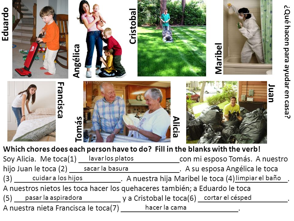 Tomás Alicia Francisca Maribel Eduardo JuanAngélica ¿Qué hacen para ayudar en casa? Which chores does each person have to do? Fill in the blanks with