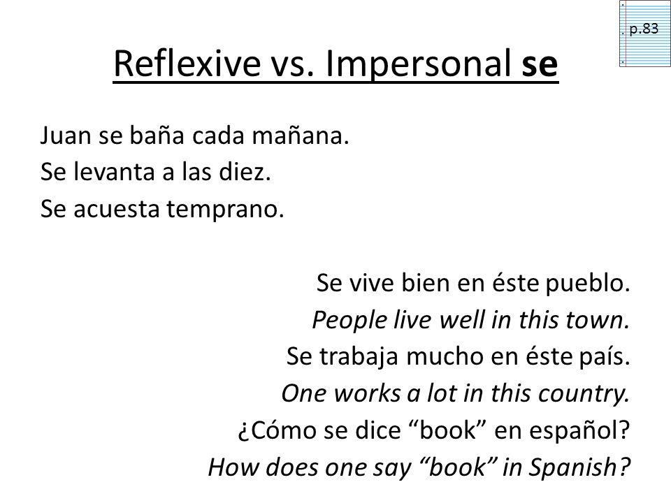 hablar (to speak) Spanish is spoken [here]. Someone speaks Spanish [here].