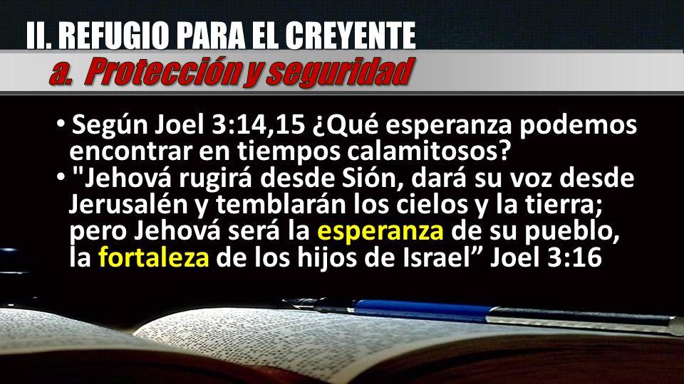 II. REFUGIO PARA EL CREYENTE Según Joel 3:14,15 ¿Qué esperanza podemos encontrar en tiempos calamitosos?