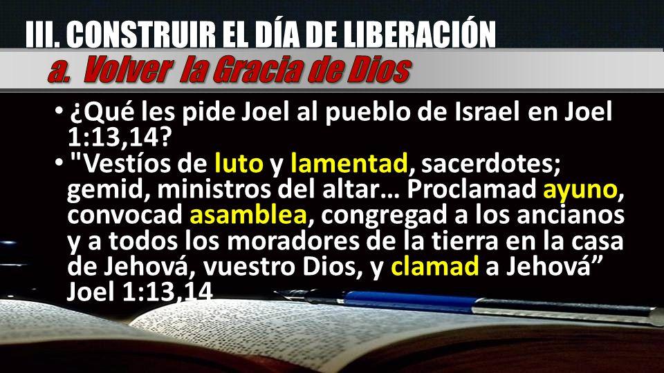 III. CONSTRUIR EL DÍA DE LIBERACIÓN ¿Qué les pide Joel al pueblo de Israel en Joel 1:13,14?