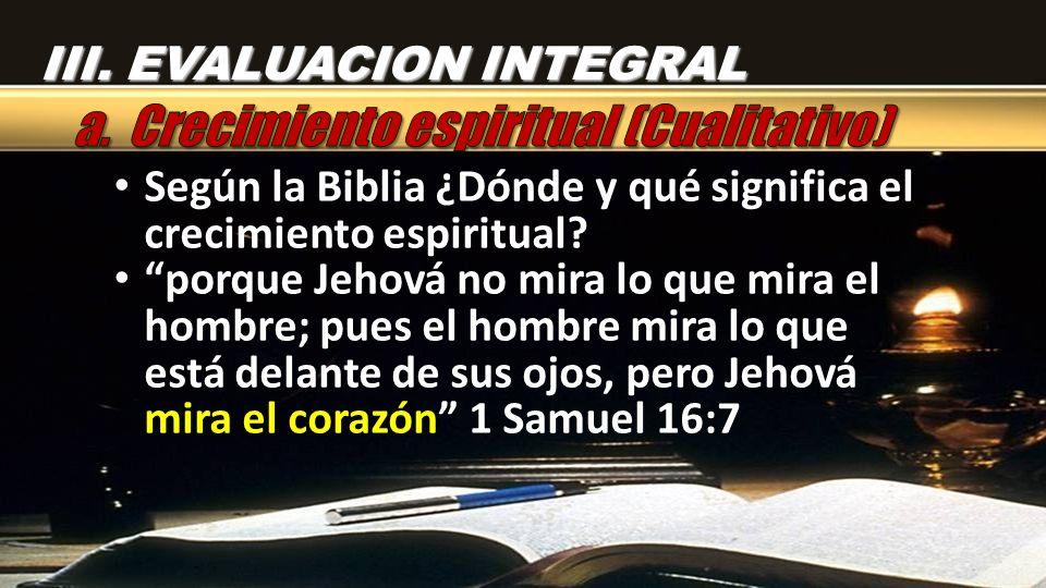 Según la Biblia ¿Dónde y qué significa el crecimiento espiritual? porque Jehová no mira lo que mira el hombre; pues el hombre mira lo que está delante