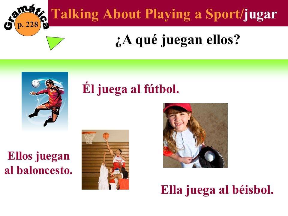 Talking About Playing a Sport/jugar p. 228 ¿A qué juegan ellos? Él juega al fútbol. Ellos juegan al baloncesto. Ella juega al béisbol.