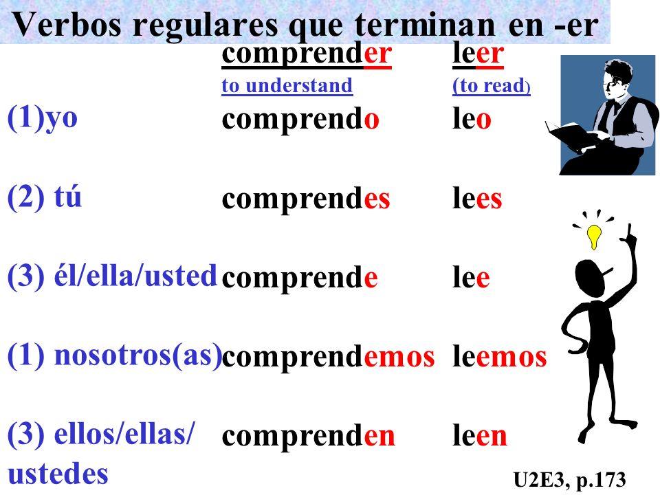 Verbos regulares que terminan en -er (1)yo (2) tú (3) él/ella/usted (1) nosotros(as) (3) ellos/ellas/ ustedes comprender to understand comprendo compr