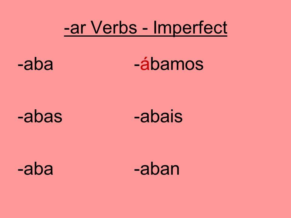 -ar Verbs - Imperfect -aba-ábamos -abas-abais -aba-aban