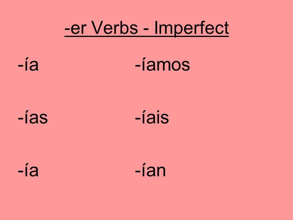-er Verbs - Imperfect -ía-íamos -ías-íais -ía -ían
