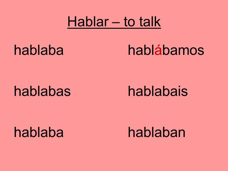 Hablar – to talk hablabahablábamos hablabashablabais hablabahablaban