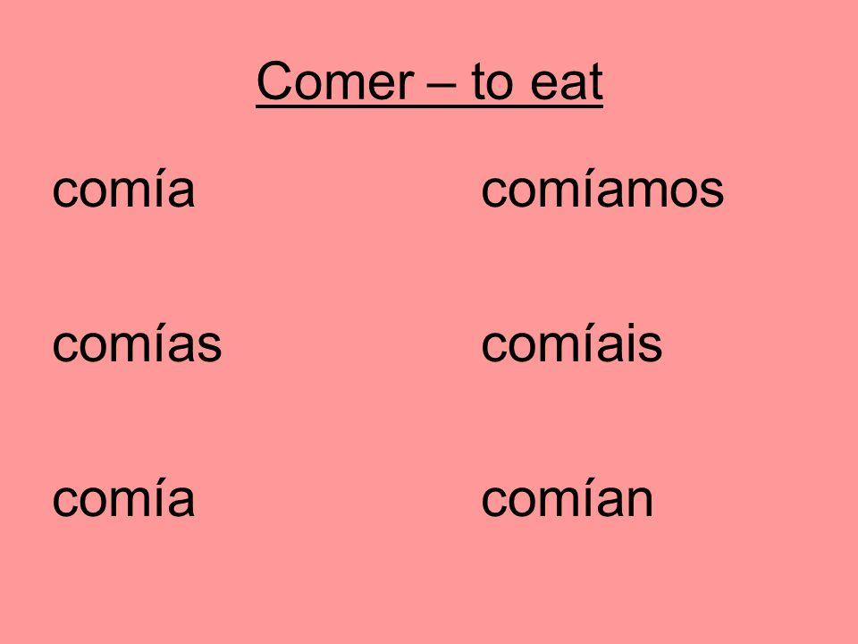 Comer – to eat comíacomíamos comíascomíais comía comían