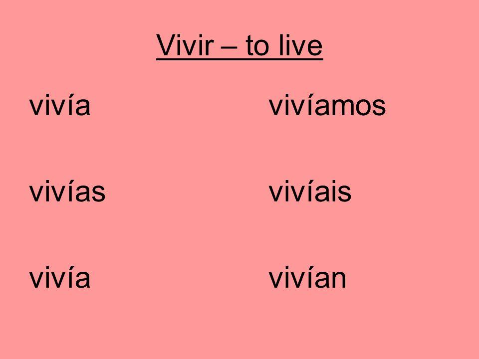 Vivir – to live vivíavivíamos vivíasvivíais vivía vivían