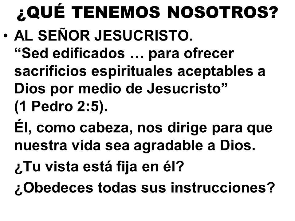 ¿QUÉ TENEMOS NOSOTROS? AL SEÑOR JESUCRISTO. Sed edificados … para ofrecer sacrificios espirituales aceptables a Dios por medio de Jesucristo (1 Pedro