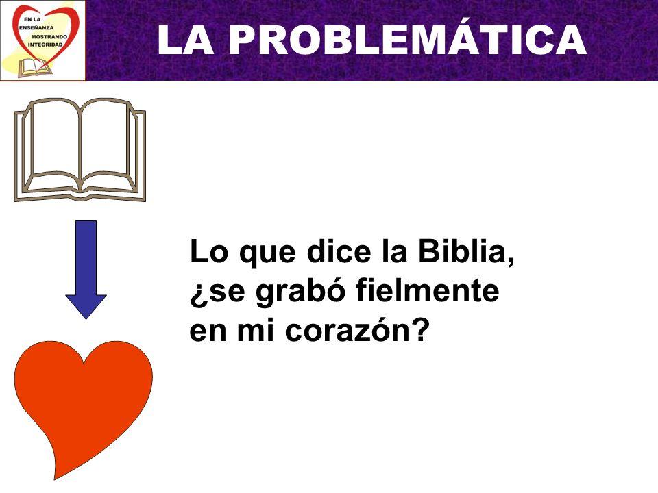 LA PROBLEMÁTICA Lo que digo, ¿es lo que se grabó en mi corazón y es verdaderamente lo que dice la Biblia?