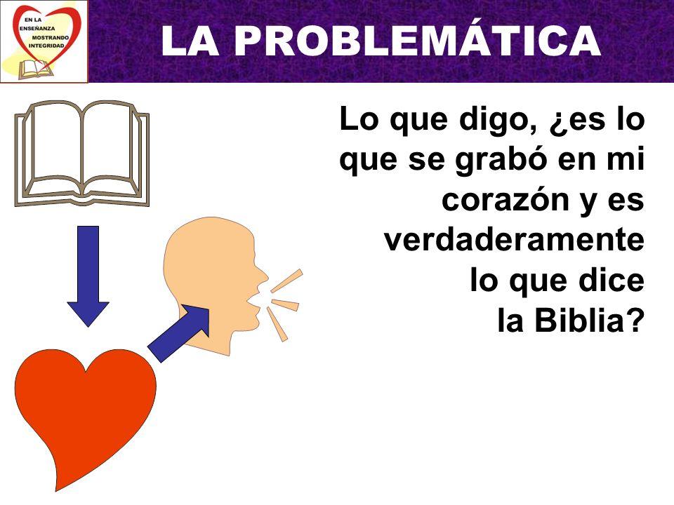 LA PROBLEMÁTICA Quien me escucha, ¿lo entendió tal como está escrito en la Biblia?