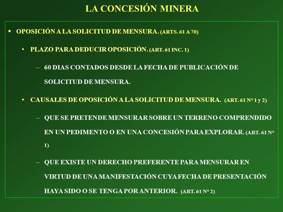OPOSICIÓN A LA SOLICITUD DE MENSURA. (ARTS. 61 A 70) PLAZO PARA DEDUCIR OPOSICIÓN. (ART. 61 INC. 1) 60 DIAS CONTADOS DESDE LA FECHA DE PUBLICACIÓN DE