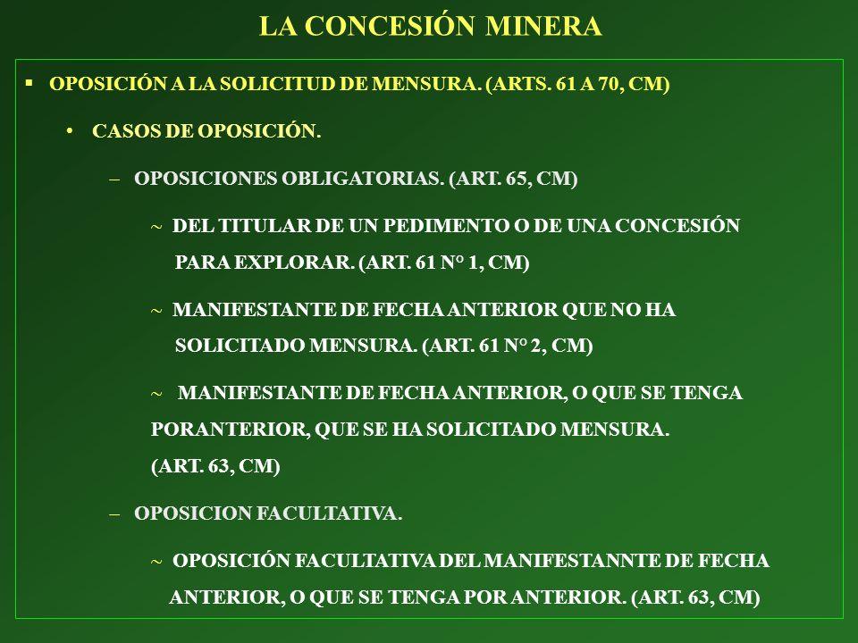 OPOSICIÓN A LA SOLICITUD DE MENSURA. (ARTS. 61 A 70, CM) CASOS DE OPOSICIÓN. OPOSICIONES OBLIGATORIAS. (ART. 65, CM) DEL TITULAR DE UN PEDIMENTO O DE