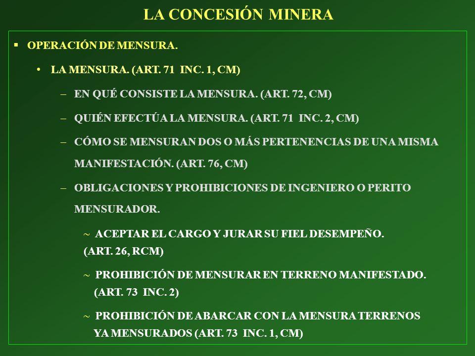 OPERACIÓN DE MENSURA. LA MENSURA. (ART. 71 INC. 1, CM) EN QUÉ CONSISTE LA MENSURA. (ART. 72, CM) QUIÉN EFECTÚA LA MENSURA. (ART. 71 INC. 2, CM) CÓMO S