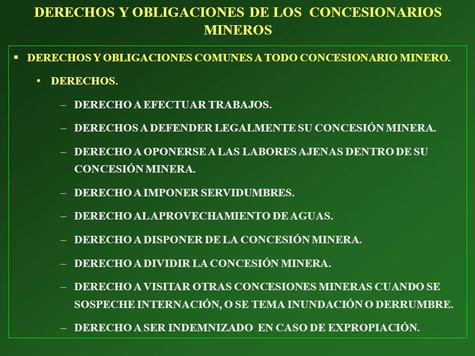 DERECHOS Y OBLIGACIONES COMUNES A TODO CONCESIONARIO MINERO. DERECHOS. DERECHO A EFECTUAR TRABAJOS. DERECHOS A DEFENDER LEGALMENTE SU CONCESIÓN MINERA