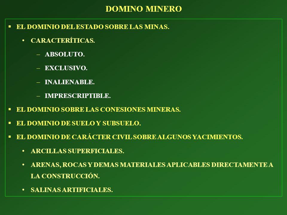 SUSTANCIAS MINERALES CONCESIBLES O DENUNCIABLES.(art.