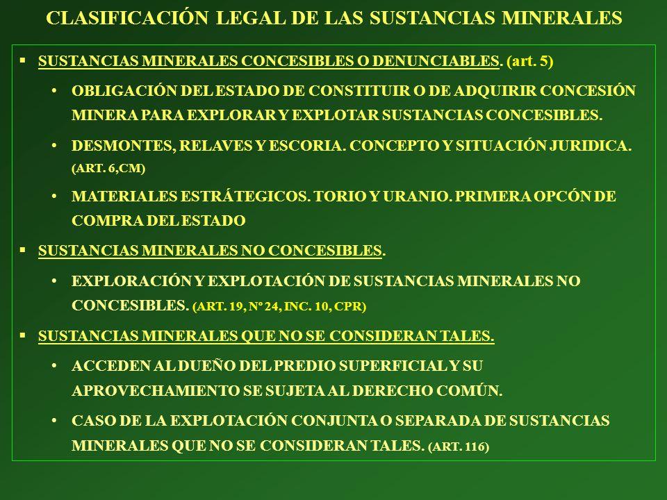 SUSTANCIAS MINERALES CONCESIBLES O DENUNCIABLES. (art. 5) OBLIGACIÓN DEL ESTADO DE CONSTITUIR O DE ADQUIRIR CONCESIÓN MINERA PARA EXPLORAR Y EXPLOTAR