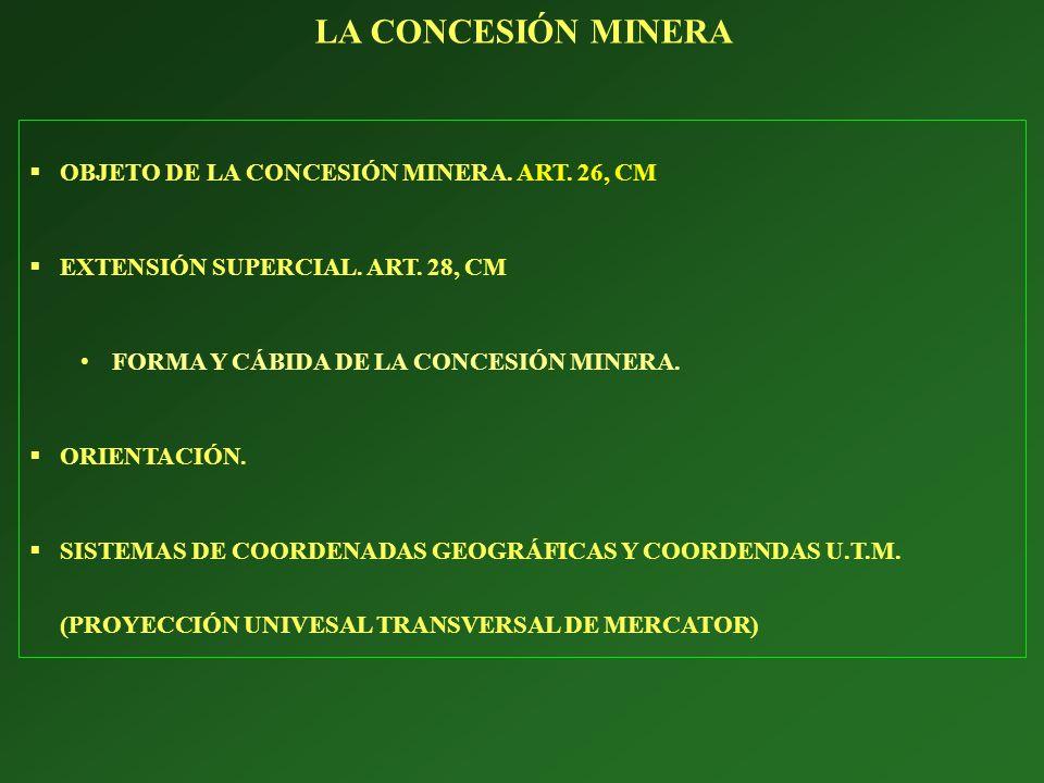 OBJETO DE LA CONCESIÓN MINERA. ART. 26, CM EXTENSIÓN SUPERCIAL. ART. 28, CM FORMA Y CÁBIDA DE LA CONCESIÓN MINERA. ORIENTACIÓN. SISTEMAS DE COORDENADA