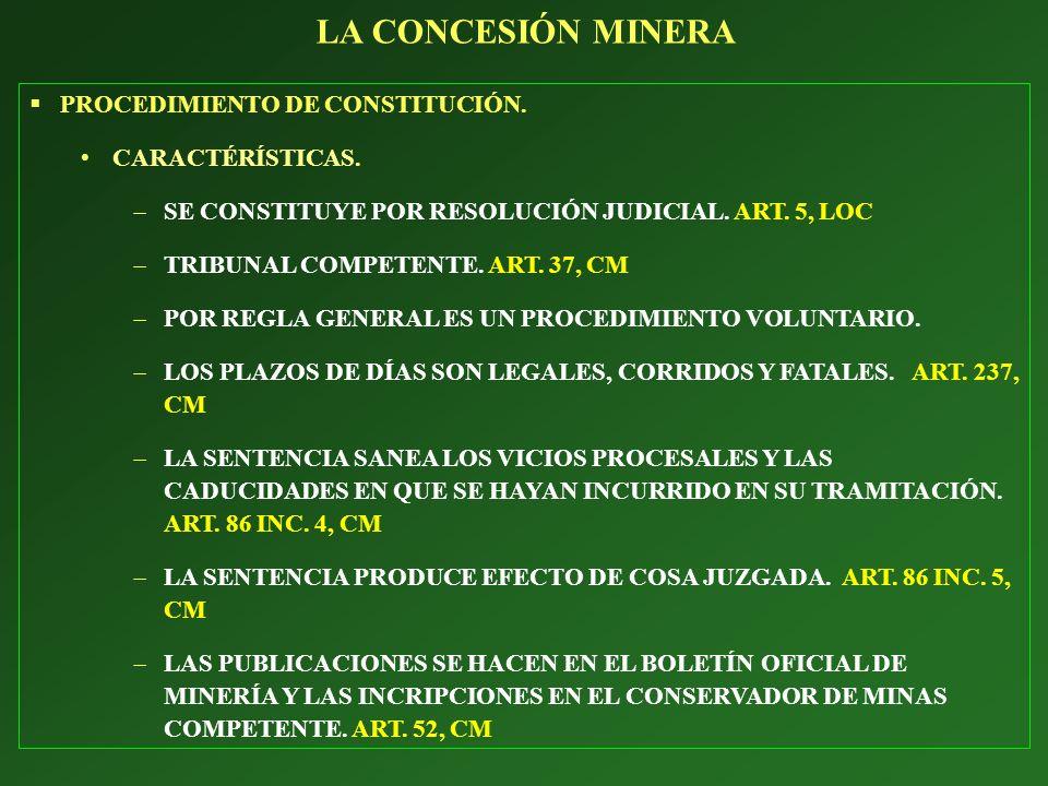 PROCEDIMIENTO DE CONSTITUCIÓN. CARACTÉRÍSTICAS. SE CONSTITUYE POR RESOLUCIÓN JUDICIAL. ART. 5, LOC TRIBUNAL COMPETENTE. ART. 37, CM POR REGLA GENERAL