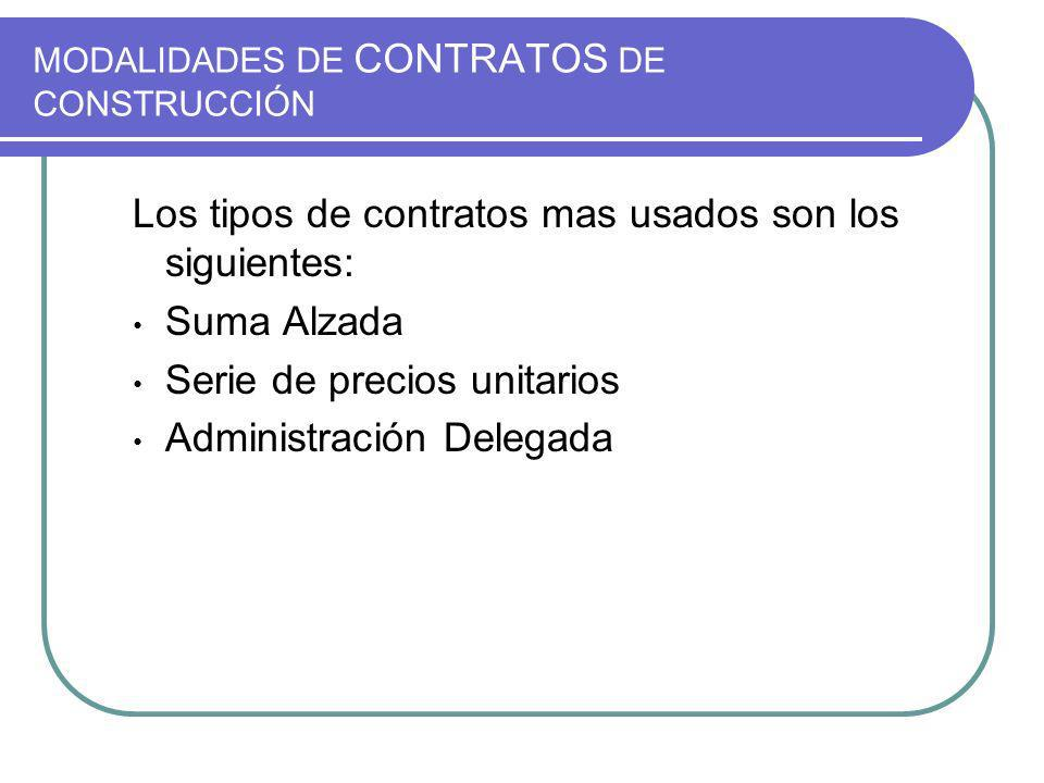 MODALIDADES DE CONTRATOS DE CONSTRUCCIÓN Los tipos de contratos mas usados son los siguientes: Suma Alzada Serie de precios unitarios Administración D