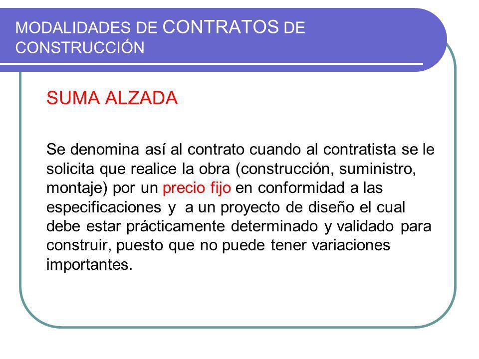 MODALIDADES DE CONTRATOS DE CONSTRUCCIÓN SUMA ALZADA Se denomina así al contrato cuando al contratista se le solicita que realice la obra (construcció