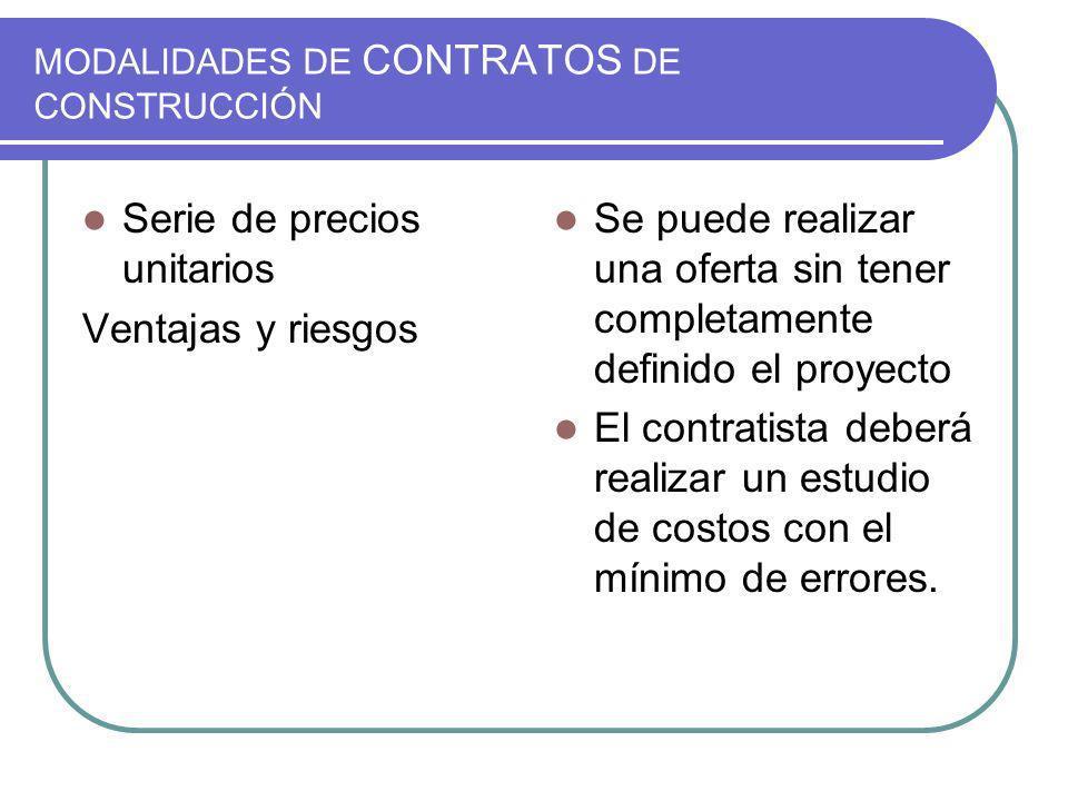 MODALIDADES DE CONTRATOS DE CONSTRUCCIÓN Serie de precios unitarios Ventajas y riesgos Se puede realizar una oferta sin tener completamente definido e