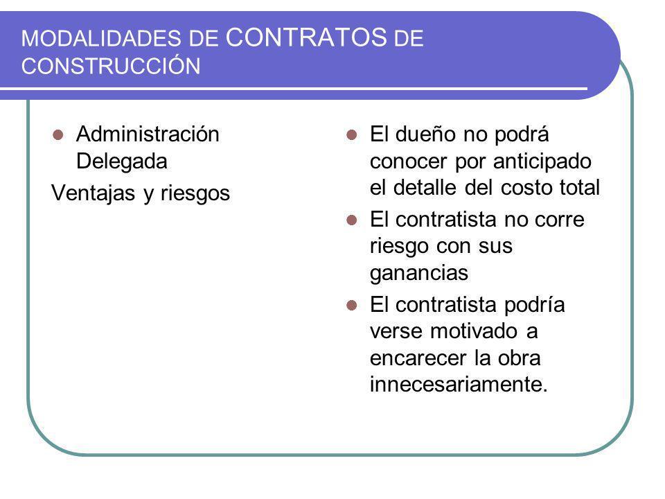 MODALIDADES DE CONTRATOS DE CONSTRUCCIÓN Administración Delegada Ventajas y riesgos El dueño no podrá conocer por anticipado el detalle del costo tota