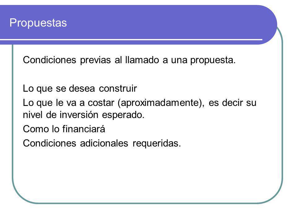 Propuestas Condiciones previas al llamado a una propuesta. Lo que se desea construir Lo que le va a costar (aproximadamente), es decir su nivel de inv