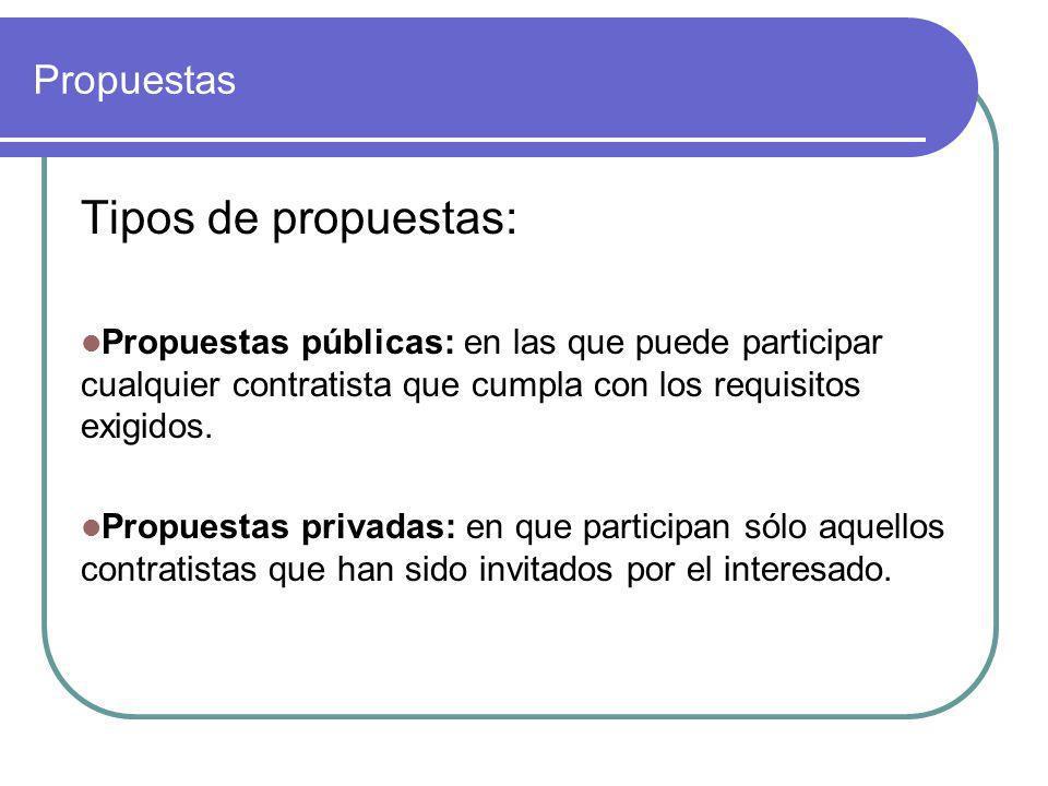 Propuestas Tipos de propuestas: Propuestas públicas: en las que puede participar cualquier contratista que cumpla con los requisitos exigidos. Propues