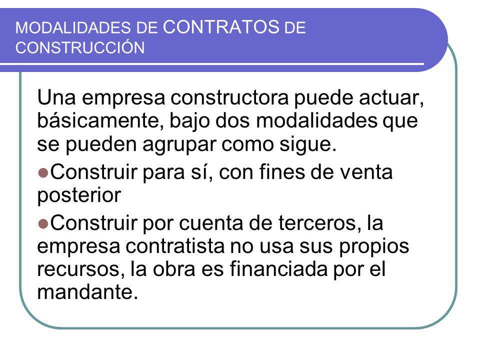 MODALIDADES DE CONTRATOS DE CONSTRUCCIÓN Una empresa constructora puede actuar, básicamente, bajo dos modalidades que se pueden agrupar como sigue. Co