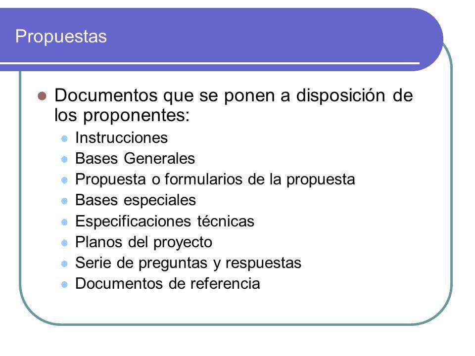 Propuestas Documentos que se ponen a disposición de los proponentes: Instrucciones Bases Generales Propuesta o formularios de la propuesta Bases especiales Especificaciones técnicas Planos del proyecto Serie de preguntas y respuestas Documentos de referencia