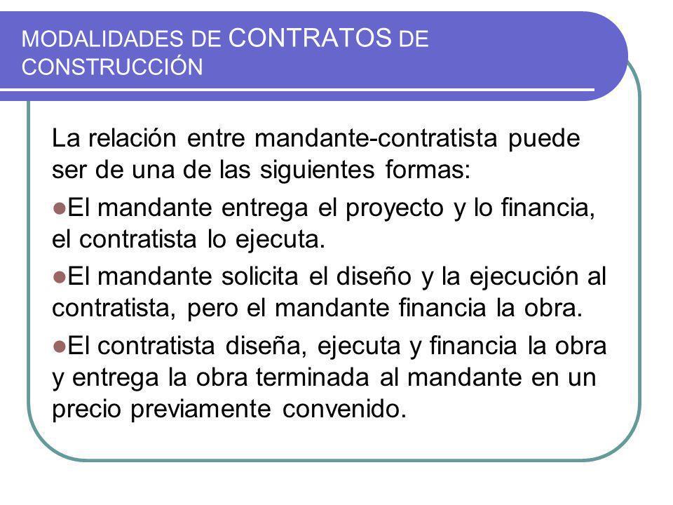 MODALIDADES DE CONTRATOS DE CONSTRUCCIÓN La relación entre mandante-contratista puede ser de una de las siguientes formas: El mandante entrega el proyecto y lo financia, el contratista lo ejecuta.