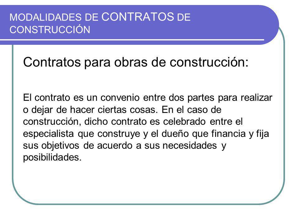 MODALIDADES DE CONTRATOS DE CONSTRUCCIÓN Contratos para obras de construcción: El contrato es un convenio entre dos partes para realizar o dejar de hacer ciertas cosas.