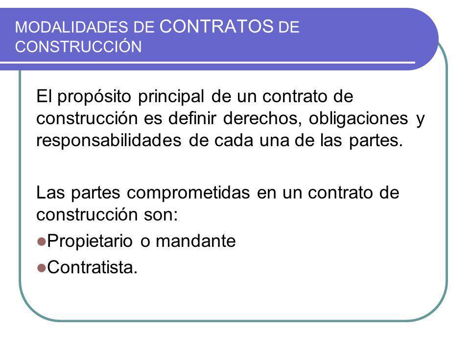 MODALIDADES DE CONTRATOS DE CONSTRUCCIÓN El propósito principal de un contrato de construcción es definir derechos, obligaciones y responsabilidades de cada una de las partes.