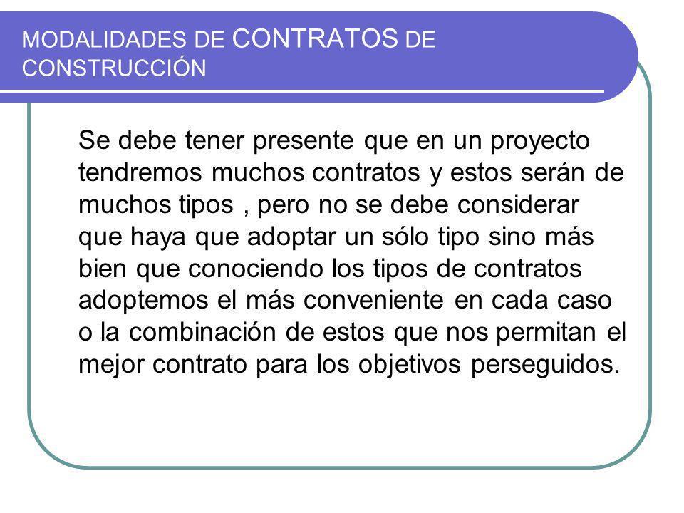 MODALIDADES DE CONTRATOS DE CONSTRUCCIÓN Los tipos de contratos mas usados son los siguientes: Suma Alzada Serie de precios unitarios Administración Delegada