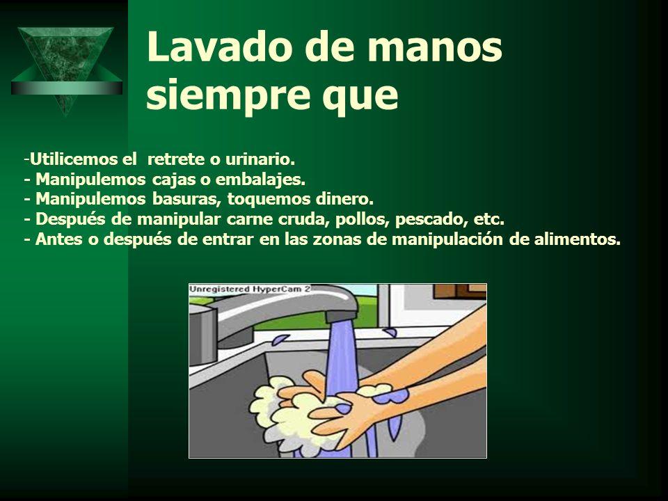 Lavado de manos siempre que -Utilicemos el retrete o urinario. - Manipulemos cajas o embalajes. - Manipulemos basuras, toquemos dinero. - Después de m