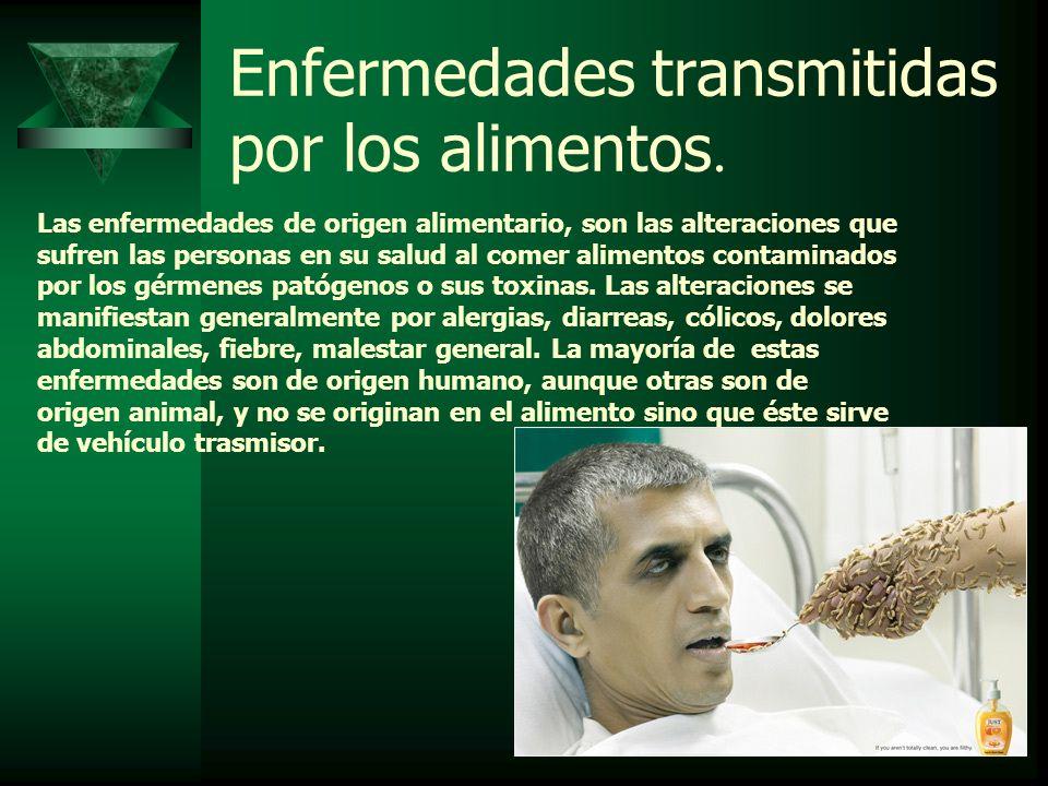 Enfermedades transmitidas por los alimentos. Las enfermedades de origen alimentario, son las alteraciones que sufren las personas en su salud al comer