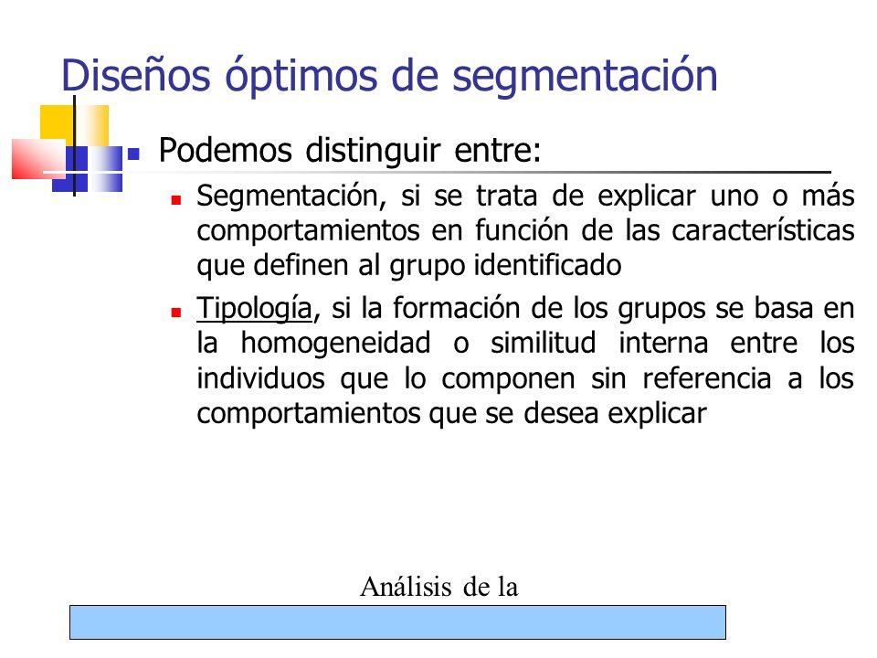 19/08/09 Análisis de la segmentación12 Diseños óptimos de segmentación Podemos distinguir entre: Segmentación, si se trata de explicar uno o más compo