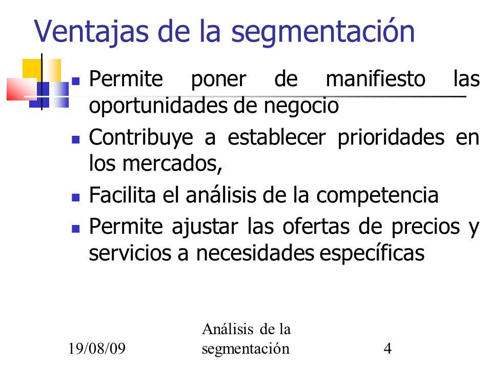 19/08/09 Análisis de la segmentación4 Permite poner de manifiesto las oportunidades de negocio Contribuye a establecer prioridades en los mercados, Fa