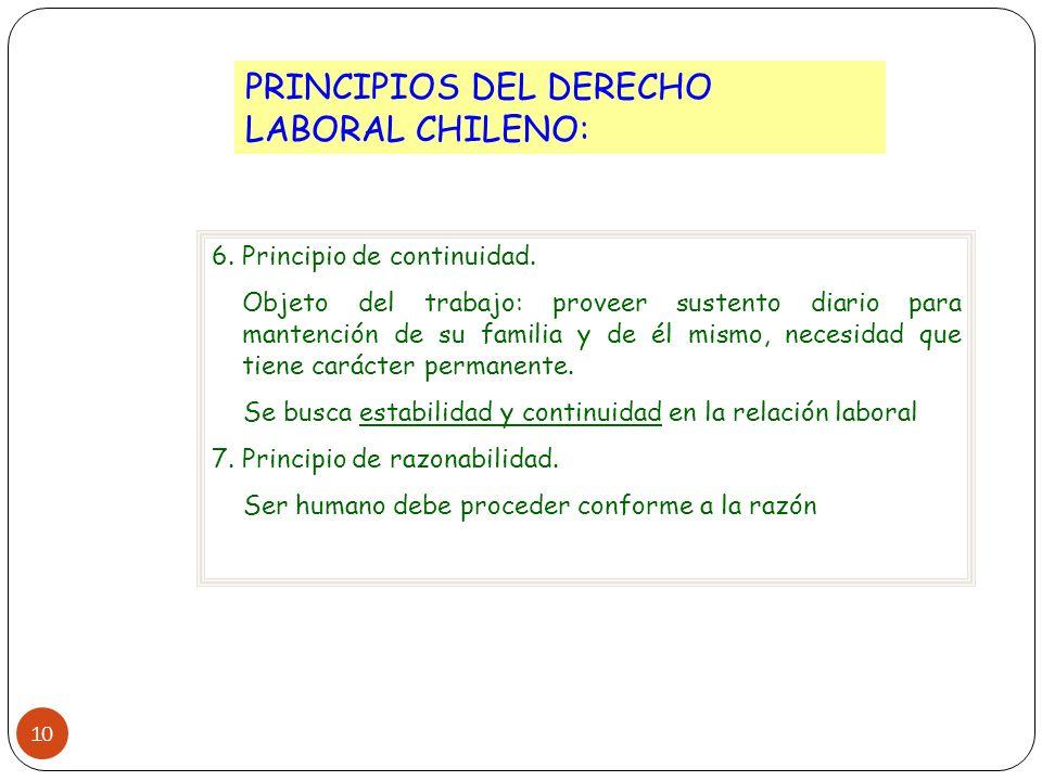 10 PRINCIPIOS DEL DERECHO LABORAL CHILENO: 6. Principio de continuidad. Objeto del trabajo: proveer sustento diario para mantención de su familia y de