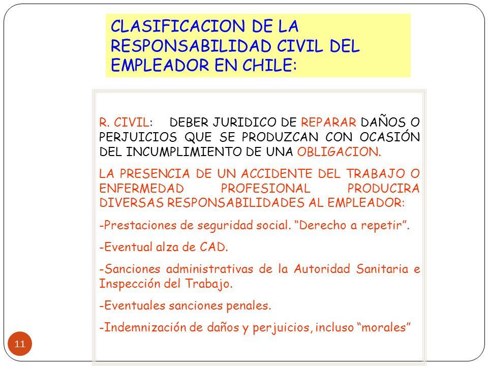 11 CLASIFICACION DE LA RESPONSABILIDAD CIVIL DEL EMPLEADOR EN CHILE: R. CIVIL: DEBER JURIDICO DE REPARAR DAÑOS O PERJUICIOS QUE SE PRODUZCAN CON OCASI